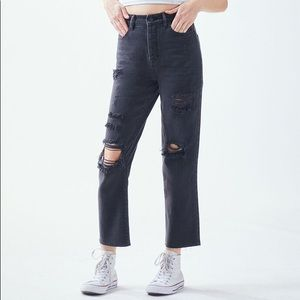 PACSUN High Rise Straight Leg Distressed Jeans